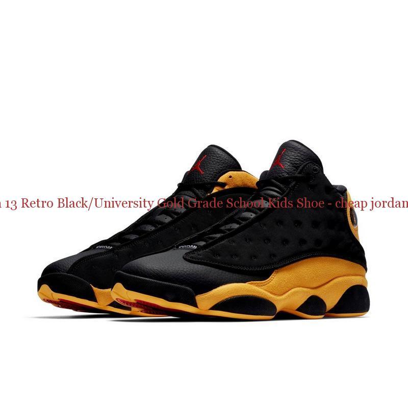 quality design d4056 fc0ca Authentic Jordan 13 Retro Black/University Gold Grade School Kids Shoe -  cheap jordans paypal - R0244