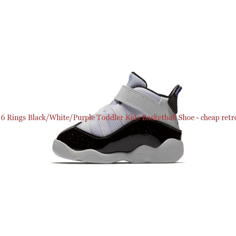 056e89589991b7 Best Jordan 6 Rings Black White Purple Toddler Kids Basketball Shoe ...