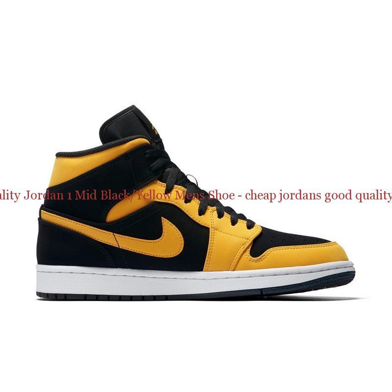 newest 6e342 b9a98 High Quality Jordan 1 Mid Black/Yellow Mens Shoe - cheap jordans good  quality - Q0193