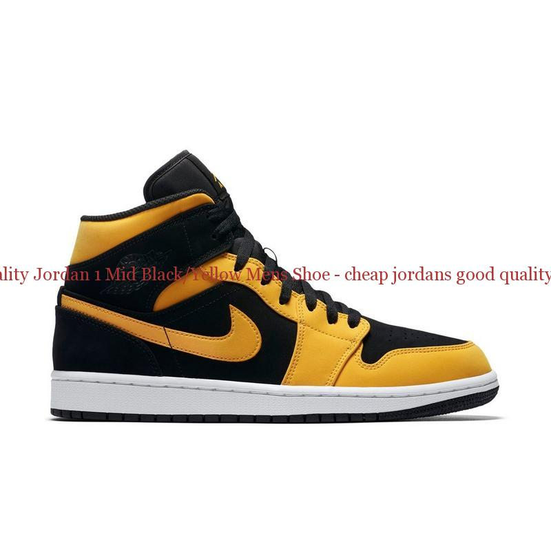 newest 647b2 34610 High Quality Jordan 1 Mid Black/Yellow Mens Shoe - cheap jordans good  quality - Q0193